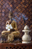 Buddha With Incense Sticks And Flower Royalty Free Stock Images