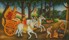 Buddha incontra la malattia, la vecchiaia e la morte Immagine Stock