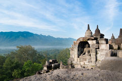 buddha inom nichestatyn Arkivfoto