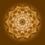 Buddha inside Mandala 04. Golden brown mandala with Buddha-Face inside stock illustration