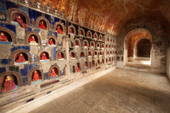 Buddha inside at wall pagoda of Nyan Shwe Kgua temple in Myanmar. Stock Photos