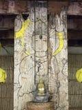 Buddha-Karikatur auf altem hölzernem inVegetarian Festival in Bangkok thailändisch Stockfoto