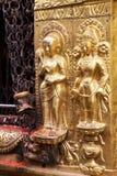 buddha kathmandu nepal lättnadsswayambunath Arkivbilder