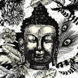 Buddha kierowniczy bezszwowy deseniowy czarny i biały ręka patroszony wektor Fotografia Stock