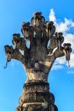 Buddha and the king of nagas sculpture at Sala Keoku, the park o stock photos