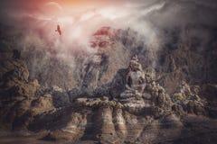 Buddha-Kopf in den Bergen des Himalajas Lizenzfreies Stockfoto