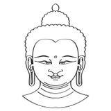 Buddha-Kopfillustration mit Bürstentechnik Stockfotografie