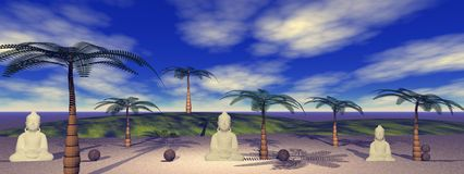 Buddha and landscape royalty free illustration