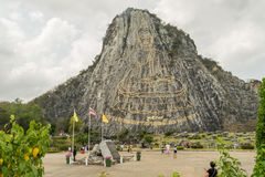 Buddha Laser Mountain in Thailand. Was made from gold Royalty Free Stock Photography