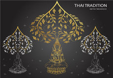 Buddha and leaf of thai tradition. Vector Stock Photo