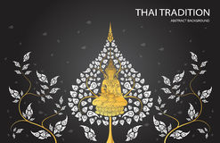 Buddha and leaf of thai tradition. Vector Royalty Free Stock Photo