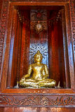 Buddha in legno della palma della chiesa Immagine Stock
