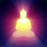 Buddha lekkiego promienia jaskrawy halo royalty ilustracja