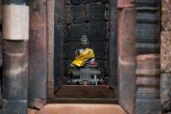 Buddha in lintel Ku Kradon Royalty Free Stock Photography