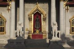 Buddha and lion statues at wat Benjamaborphit. Buddha and lion statues at marble temple or wat Benjamaborphit royalty free stock photo