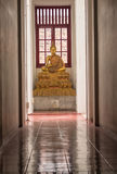 Buddha in Loha Prasat. Wat Ratchanatdaram in Bangkok Thailand which means iron castle or monastery is composes of five towers, of which the outer, middle and Royalty Free Stock Photo
