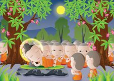 Buddha. Lord of Buddha was dead under tree in cartoon version,used well for important days of Buddhism vector illustration vector illustration