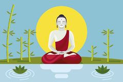 Buddha with Lotus and Bamboo. Buddha sitting in meditation in a shore lake with lotus and bambu. Dharma Wheel Concept. The path of liberation from samsara Royalty Free Stock Photo