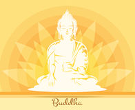 Buddha with lotus flower stock illustration