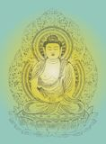 Buddha on Lotus Flower. Gautama Buddha poster. It has a gradient background, and the Buddha has a halftone screen texture stock illustration