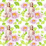 Buddha with lotus, leaves, decorative design. Seamless pattern. Watercolor Stock Images