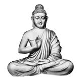 Seated Buddha in a Lotus Pose. Buddha in the lotus position. Black outlines isolated on white. Vintage Vector. decorative elements Stock Illustration