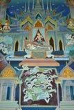 Buddha målning på väggen i tempel Arkivfoto