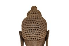 Buddha made of bamboo weave by handmade which is a beautiful scu. Lpture at temple in thailand Royalty Free Stock Images