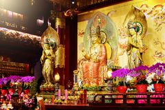 Buddha Maitreya statue in Buddha Tooth Relic Temple stock images
