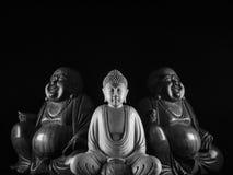 Buddha and Maitreya sculpture. Buddha and Maitreya wood sculpture still life Stock Photos