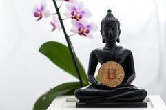 Buddha med bitcoin Royaltyfri Foto