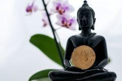 Buddha med bitcoin Fotografering för Bildbyråer
