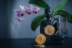 Buddha med bitcoin Royaltyfria Bilder