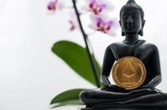 Buddha med ethereum Arkivfoto