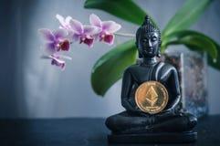 Buddha med ethereum Arkivbild