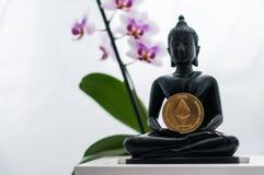 Buddha med ethereum Royaltyfria Bilder