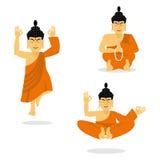 Buddha meditating Dios indio en el fondo blanco estatus stock de ilustración