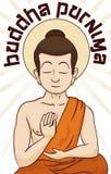Buddha Meditating in Serene Position and Commemorating Vesak, Vector Illustration Stock Images