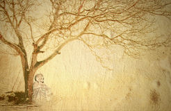 Buddha meditating under a tree. Background Buddha meditating under a tree and copy space Stock Images