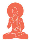 Buddha. Meditating about yoga of the world , red on white background Royalty Free Stock Photography