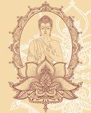 Buddha in meditation on beautiful and magical decoration stock illustration