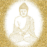 Buddha in meditation with glitter background Royalty Free Stock Photo