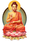 Buddha in meditation. Illustration with Buddha in meditation. Raster illustration Stock Photo