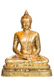Buddha in meditation isolated. Over a white background,Gold leaf Stock Images
