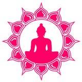 Buddha - meditation - lotusblommablomma Arkivbilder