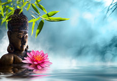 Buddha in meditation. On pond Royalty Free Stock Photo