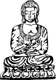 Buddha in meditation in the style of street art. Vector illustration of a black and white buddha. stock illustration