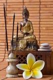 Buddha mit Duft-Steuerknüppeln und Blume stockfotos