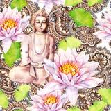 Buddha mit Lotos, Blätter, dekoratives Design Nahtloses Muster watercolor Stockfotos