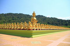 Buddha and monk Royalty Free Stock Images